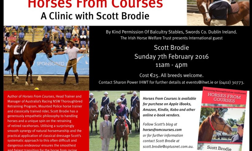 Retraining Racehorses – Clinic with international trainer Scott Brodie 7th Feb